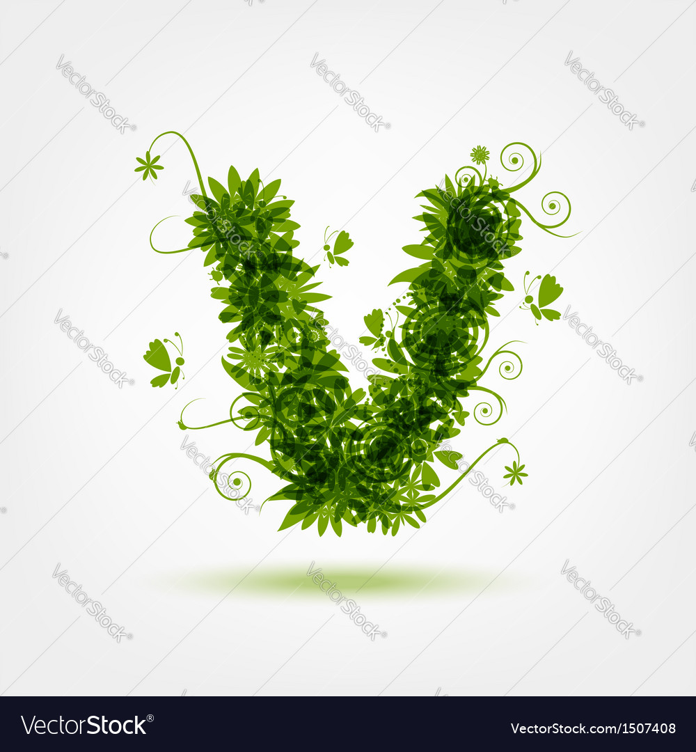 Green eco letter v for your design vector | Price: 1 Credit (USD $1)