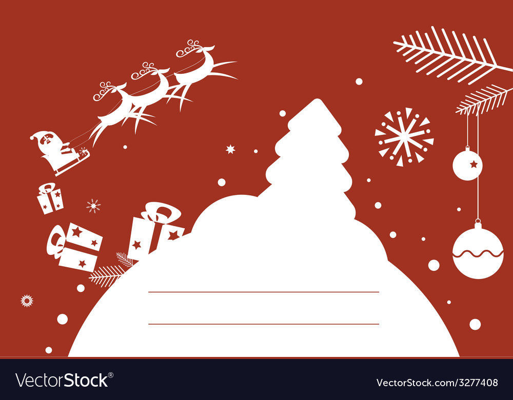 Holiday post card design with santa vector | Price: 1 Credit (USD $1)