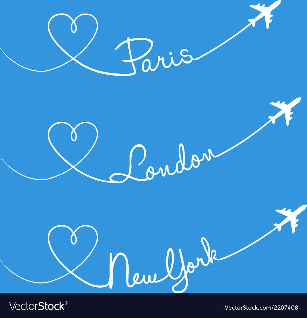 Love flying paris london new york set vector | Price: 1 Credit (USD $1)