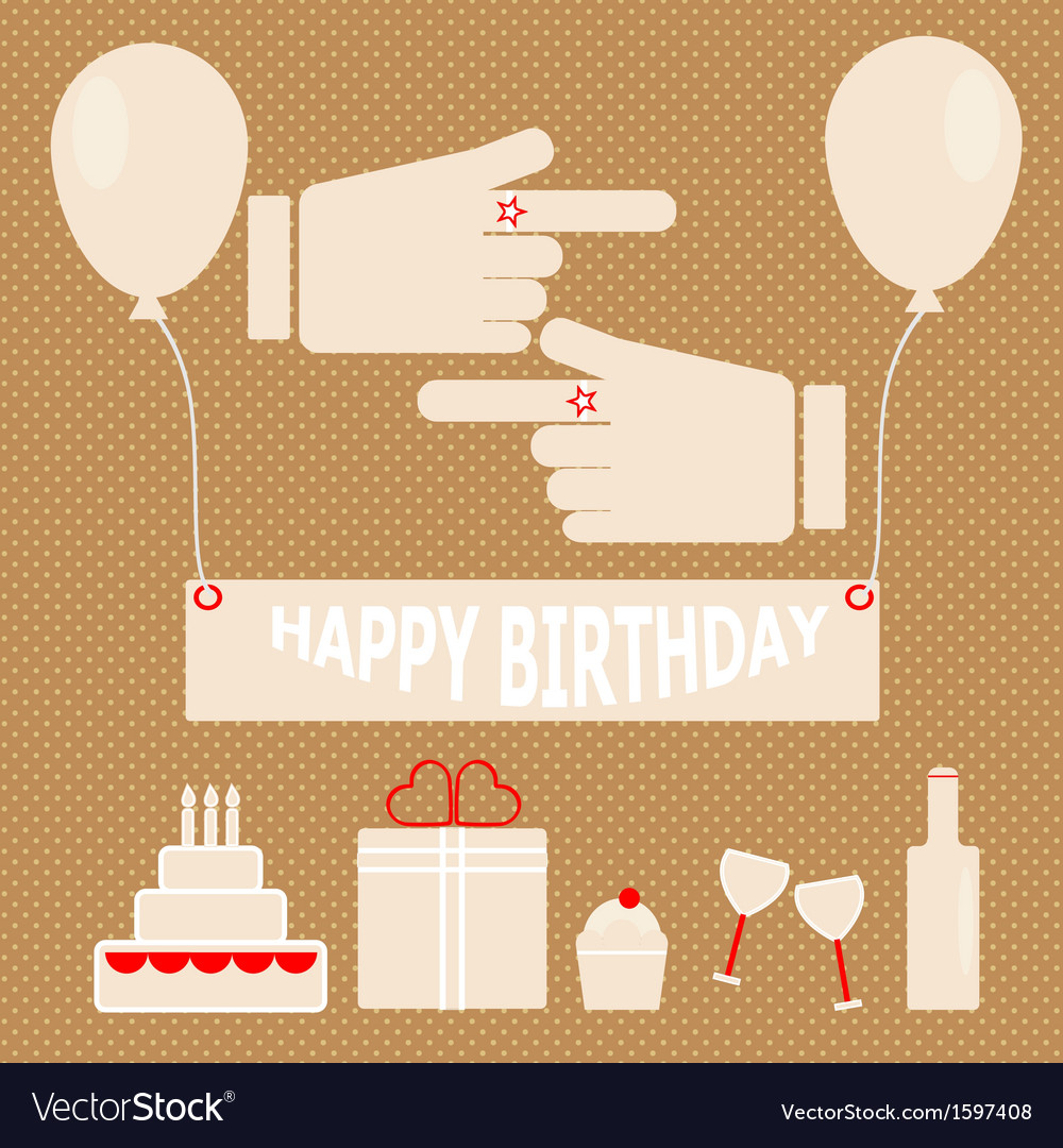 Simple birthday party in retro style vector | Price: 1 Credit (USD $1)