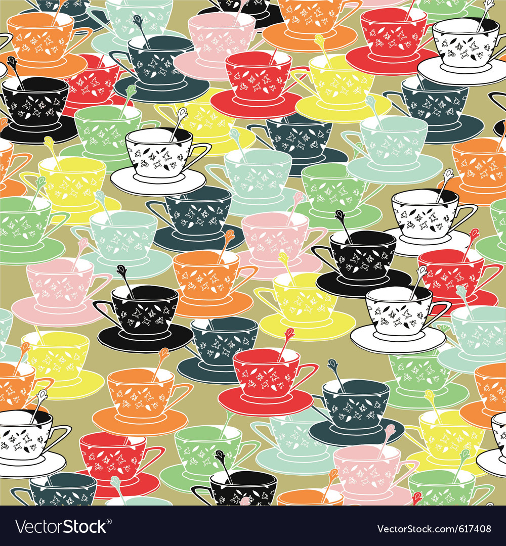 Tea cups pattern background vector | Price: 1 Credit (USD $1)