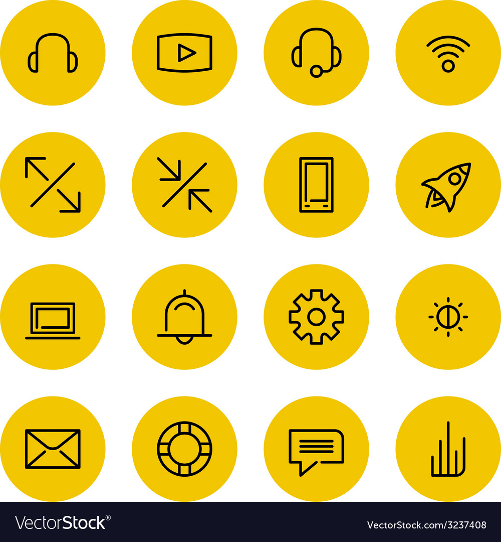 Thin line icons set for web and mobile vector | Price: 1 Credit (USD $1)
