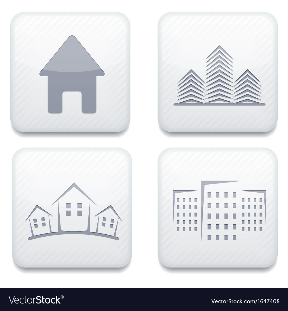 White real estate app icon set eps10 vector | Price: 1 Credit (USD $1)