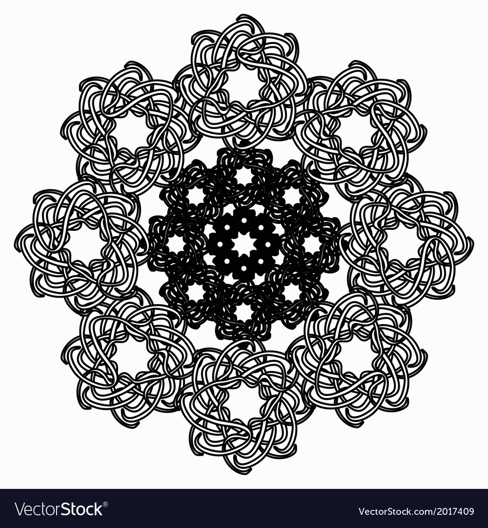 Black line geometric flower circular pattern on vector | Price: 1 Credit (USD $1)