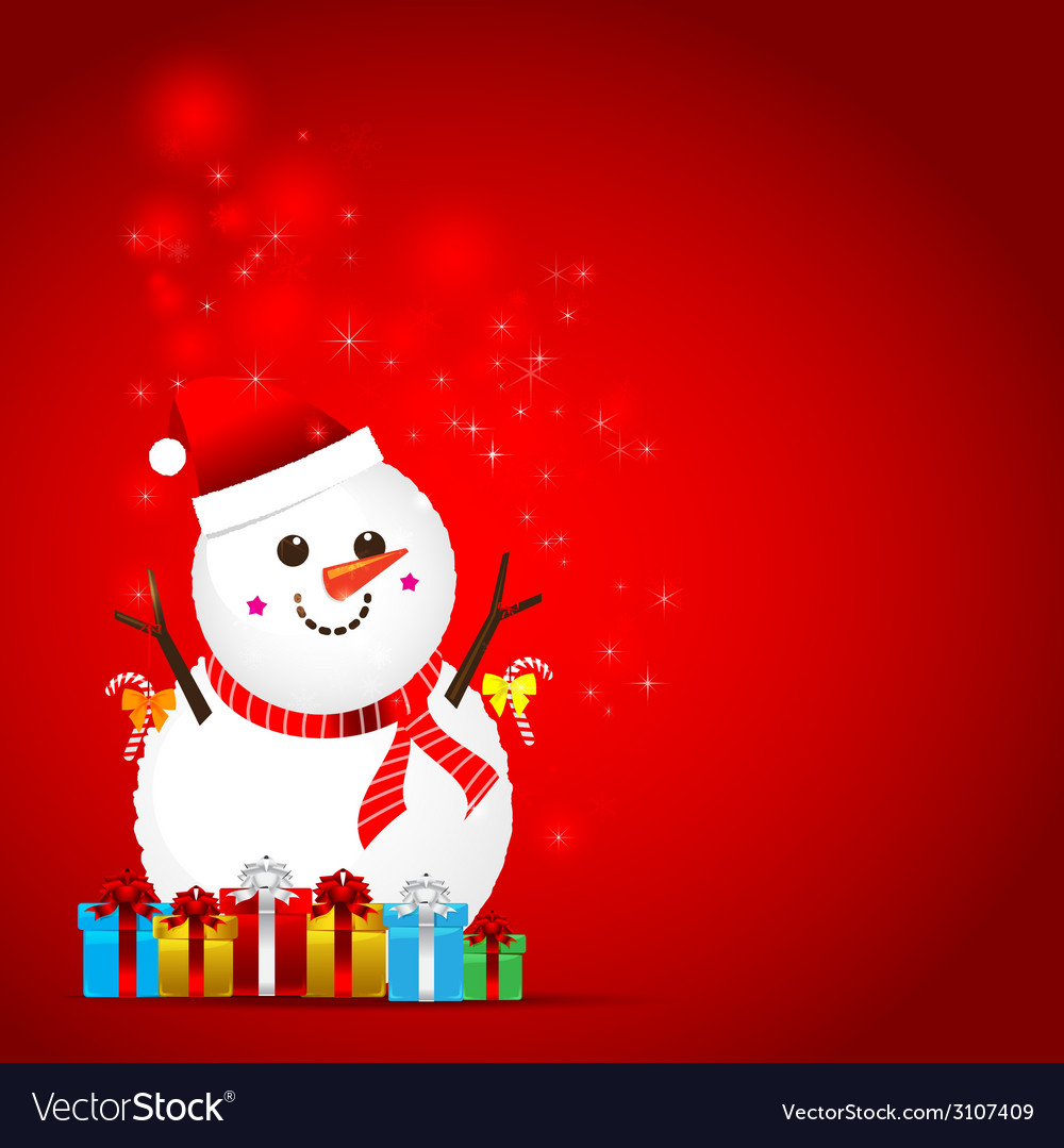 Christmas snow man on the red background vector | Price: 1 Credit (USD $1)