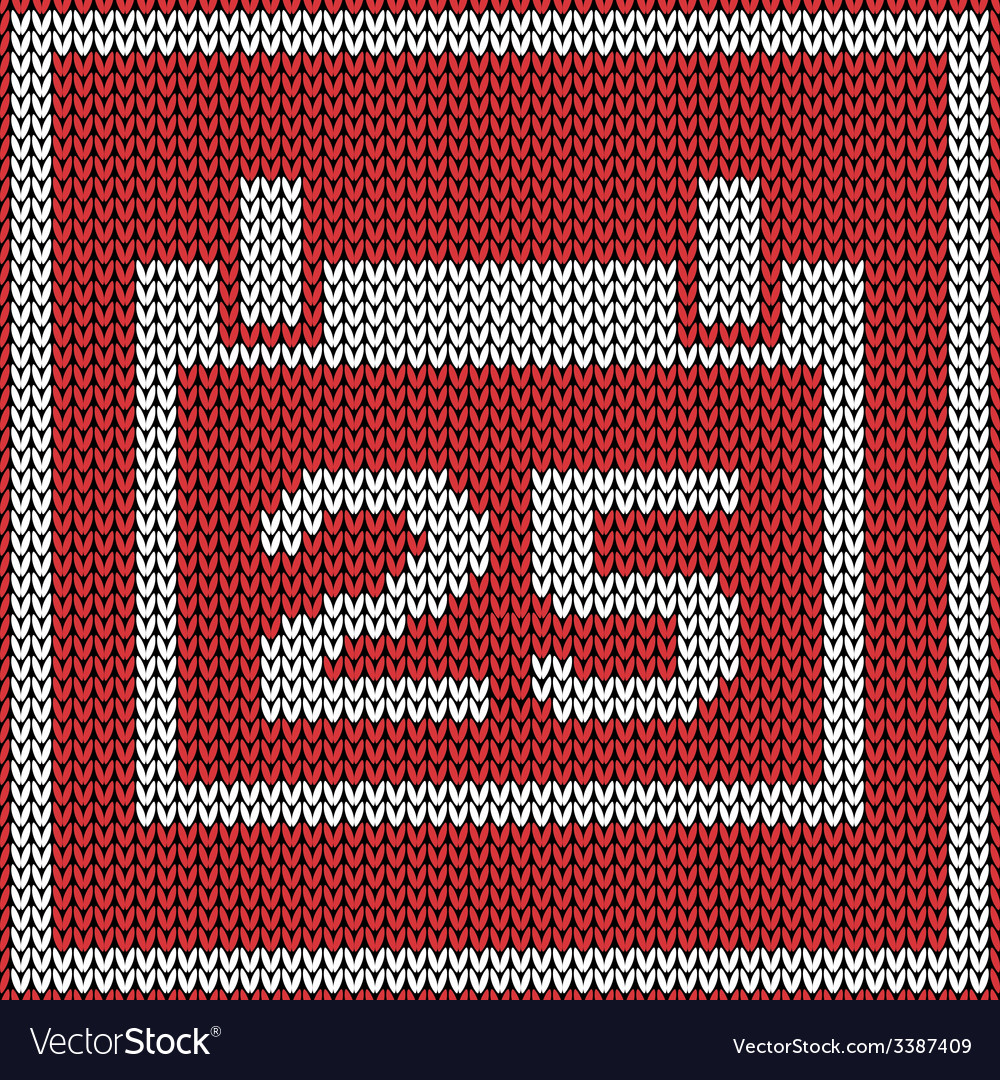 Red calendar icon on wool knitted texture vector | Price: 1 Credit (USD $1)