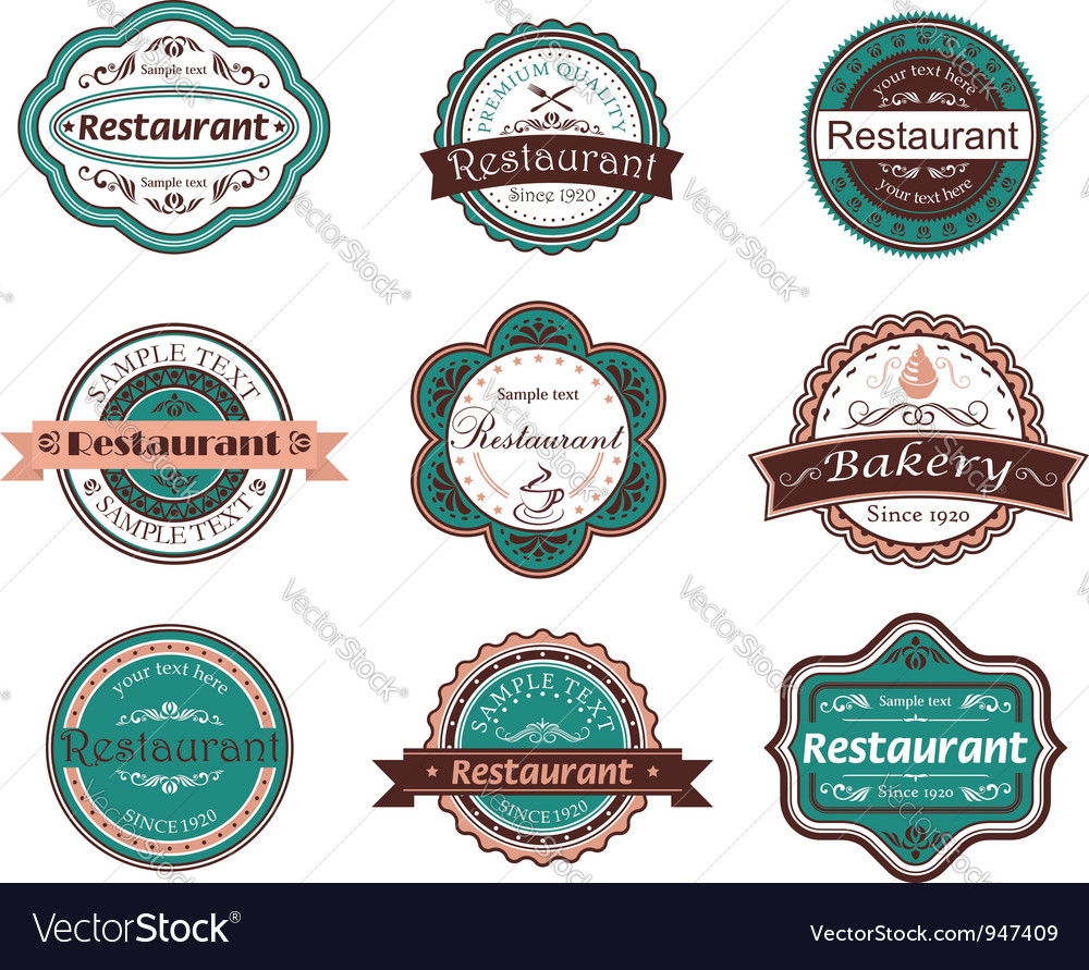 Retro food labels and emblems vector | Price: 1 Credit (USD $1)