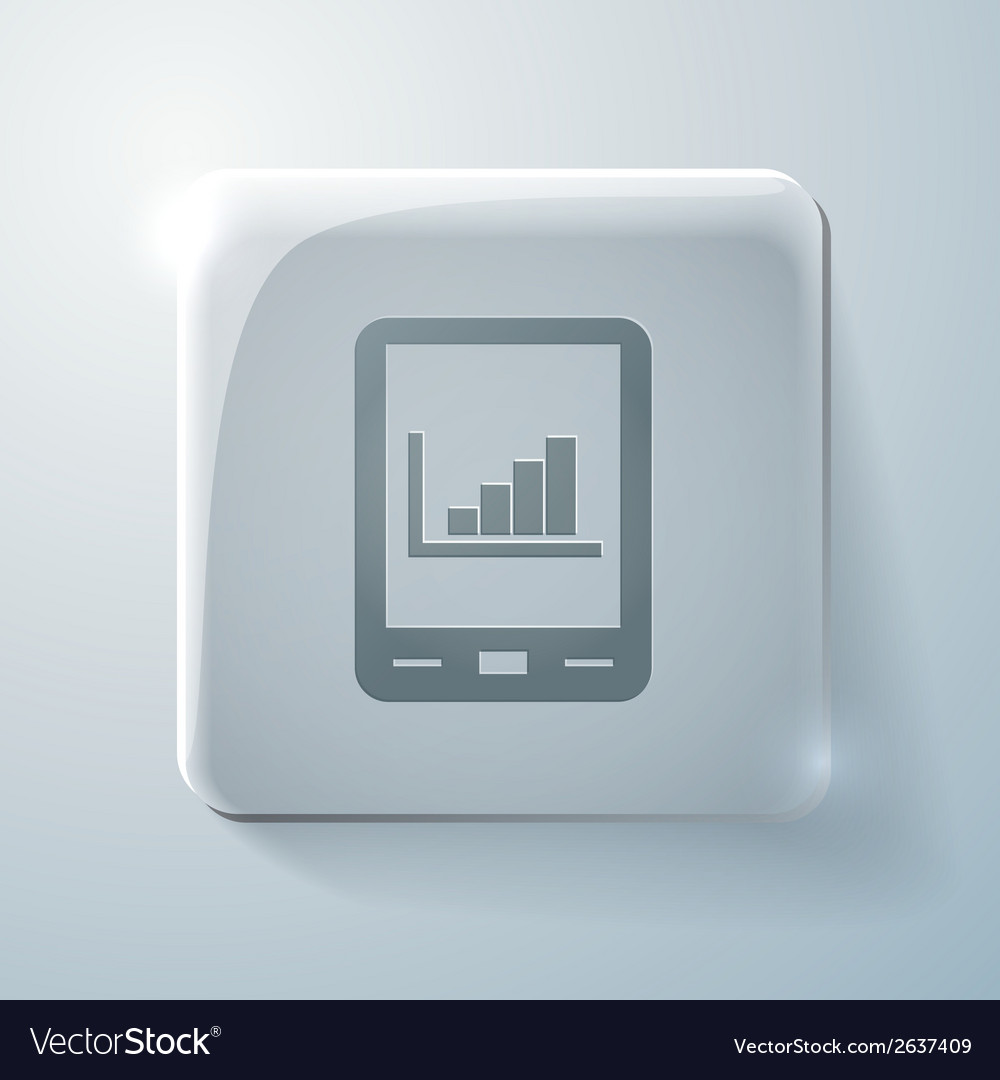 Tablet pad with diagram glass square icon vector | Price: 1 Credit (USD $1)