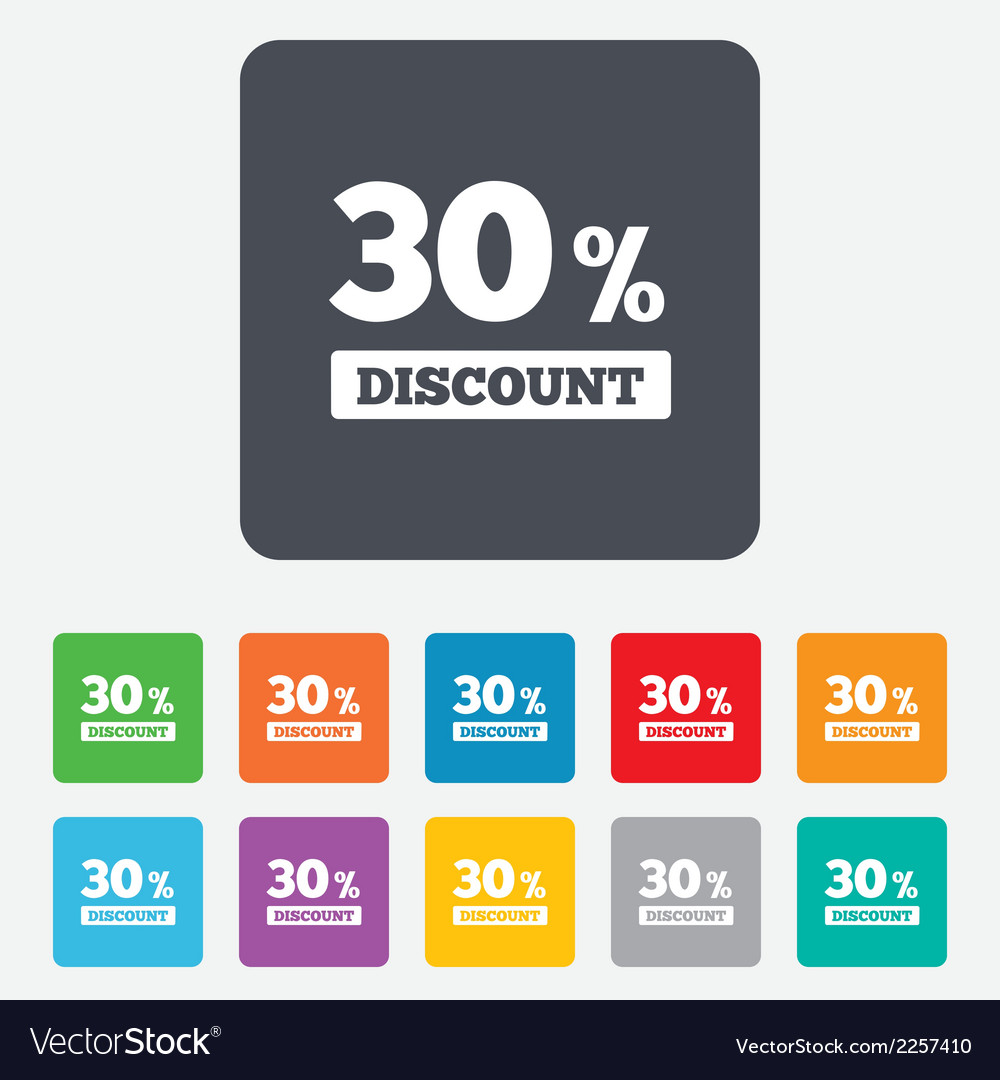 30 percent discount sign icon sale symbol vector | Price: 1 Credit (USD $1)