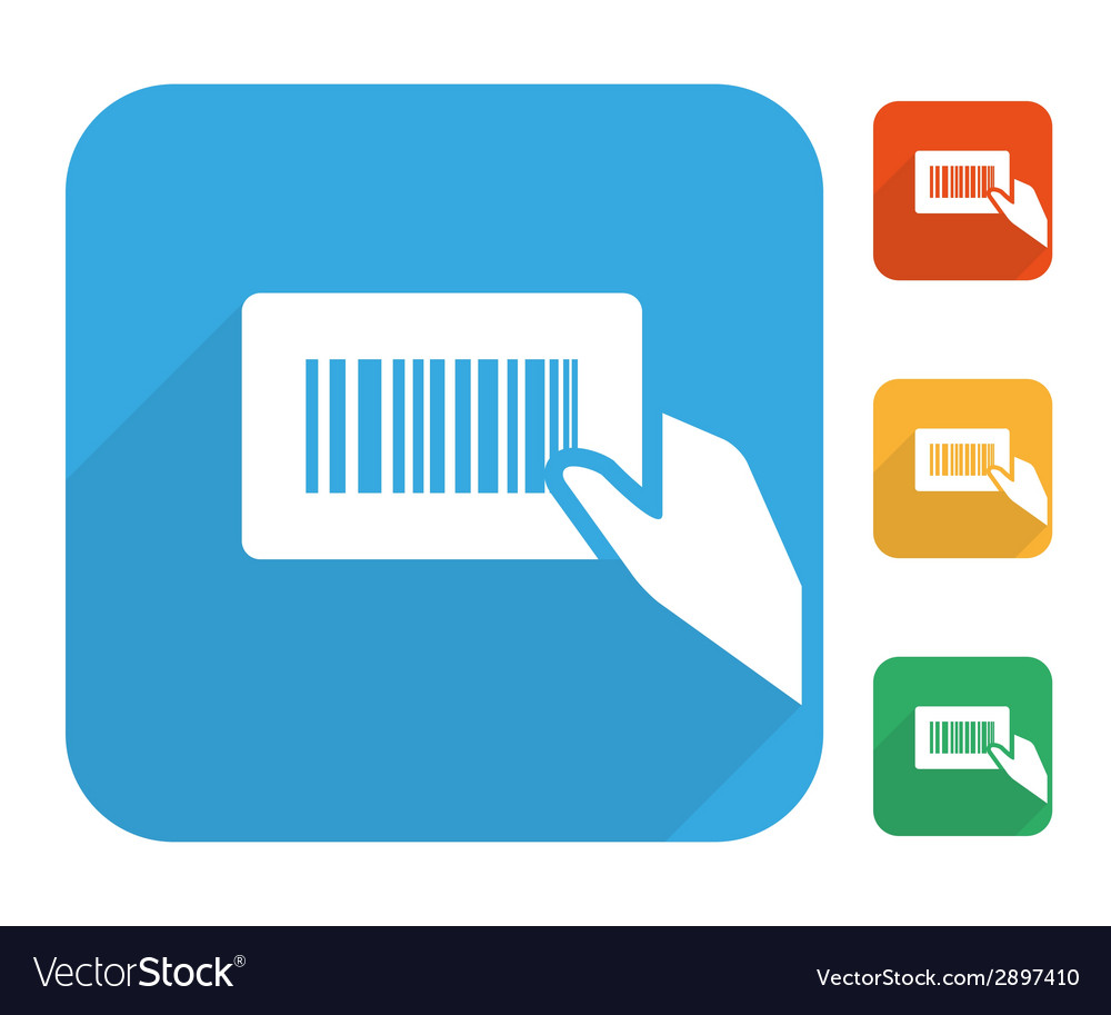 Barcode label with human hand icon set vector | Price: 1 Credit (USD $1)