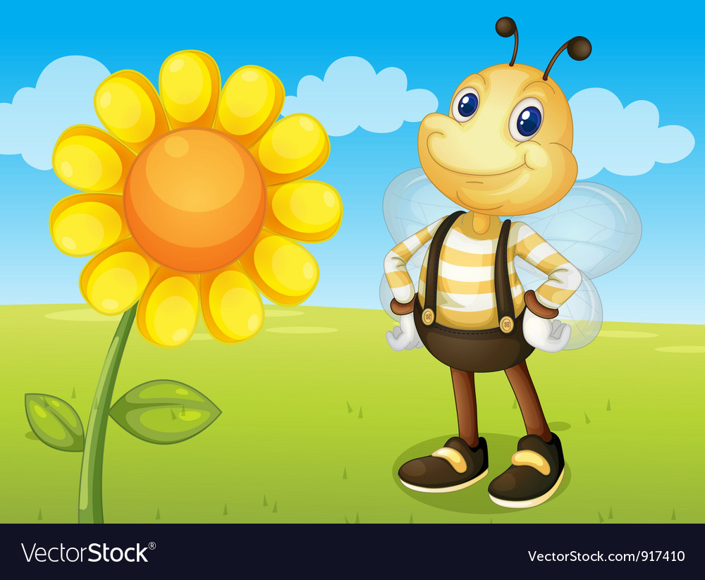 Bee and flower vector | Price: 3 Credit (USD $3)