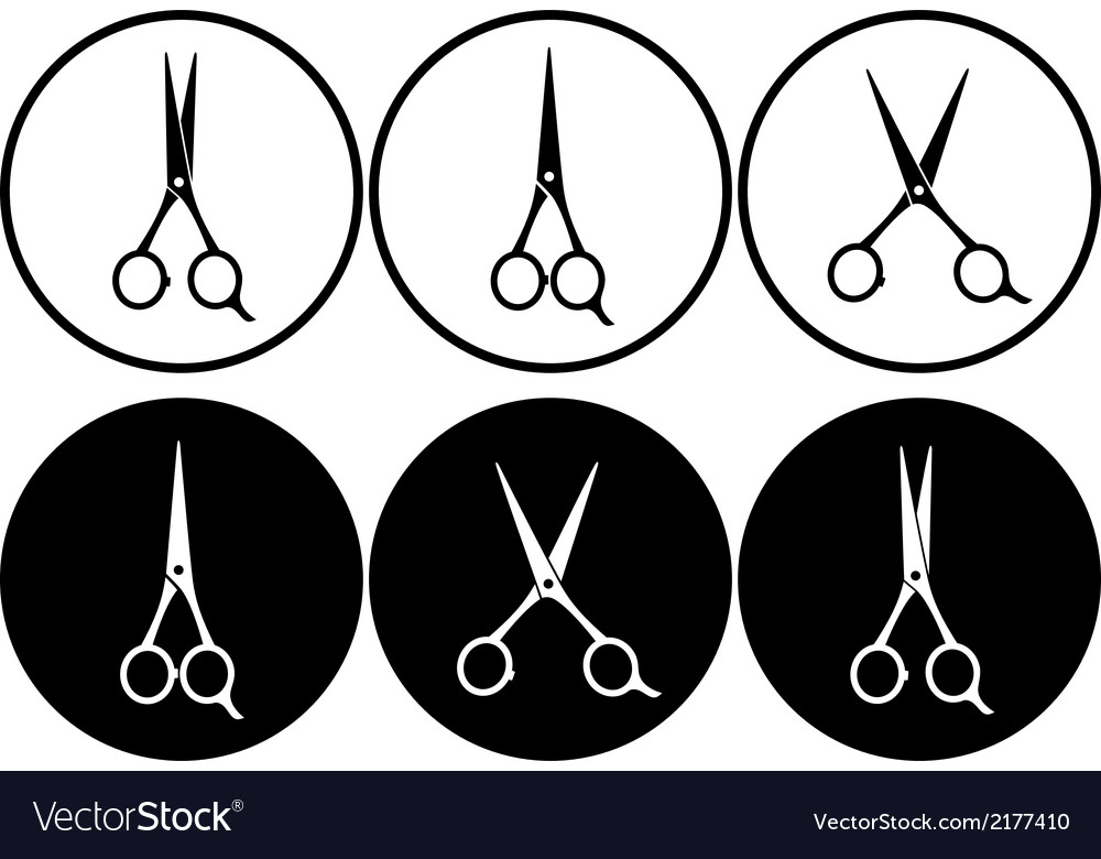 Black scissors in frame vector