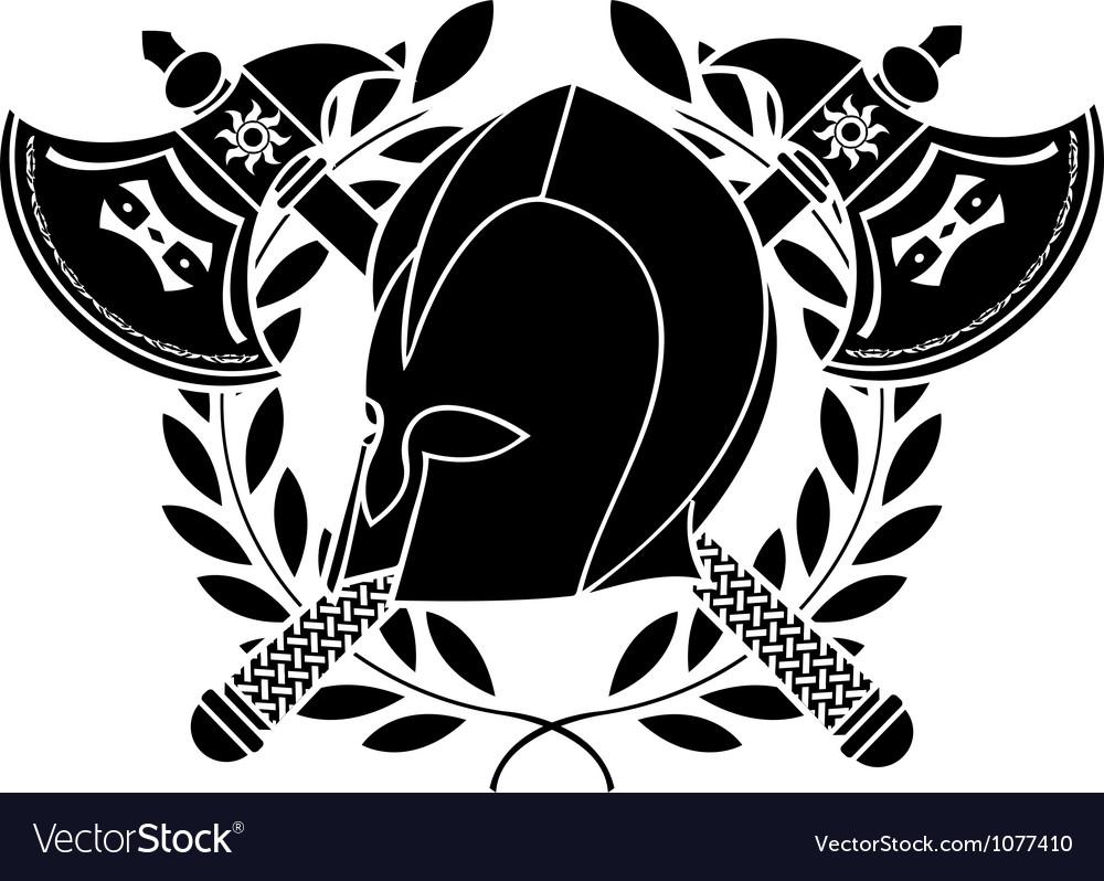 Fantasy barbarian helmet with axes and laurel vector | Price: 1 Credit (USD $1)