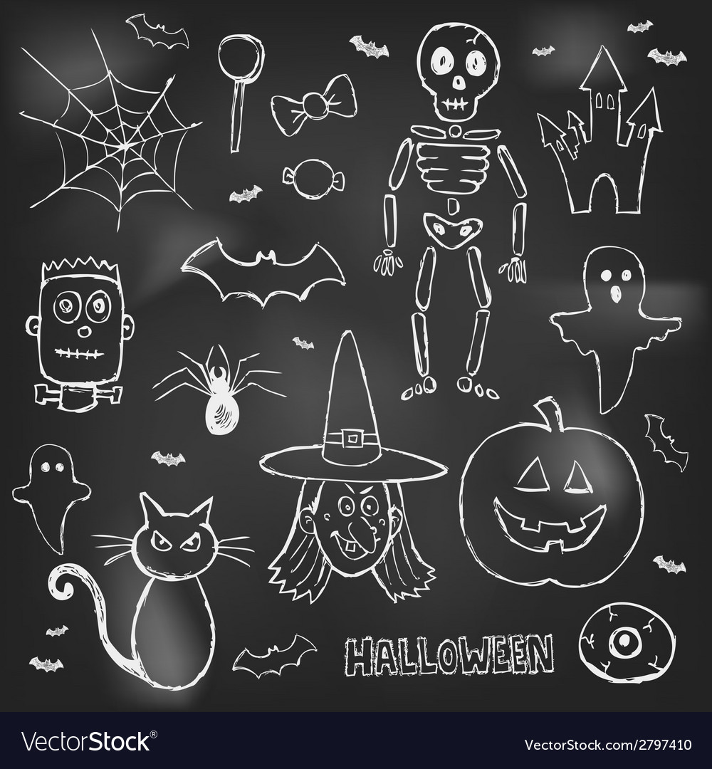 Halloween hand drawn doodles over black board vector | Price: 1 Credit (USD $1)