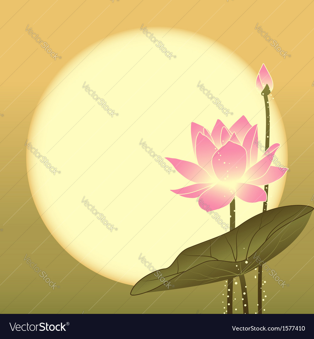 Mid autumn festival lotus flower and full moon vector | Price: 1 Credit (USD $1)