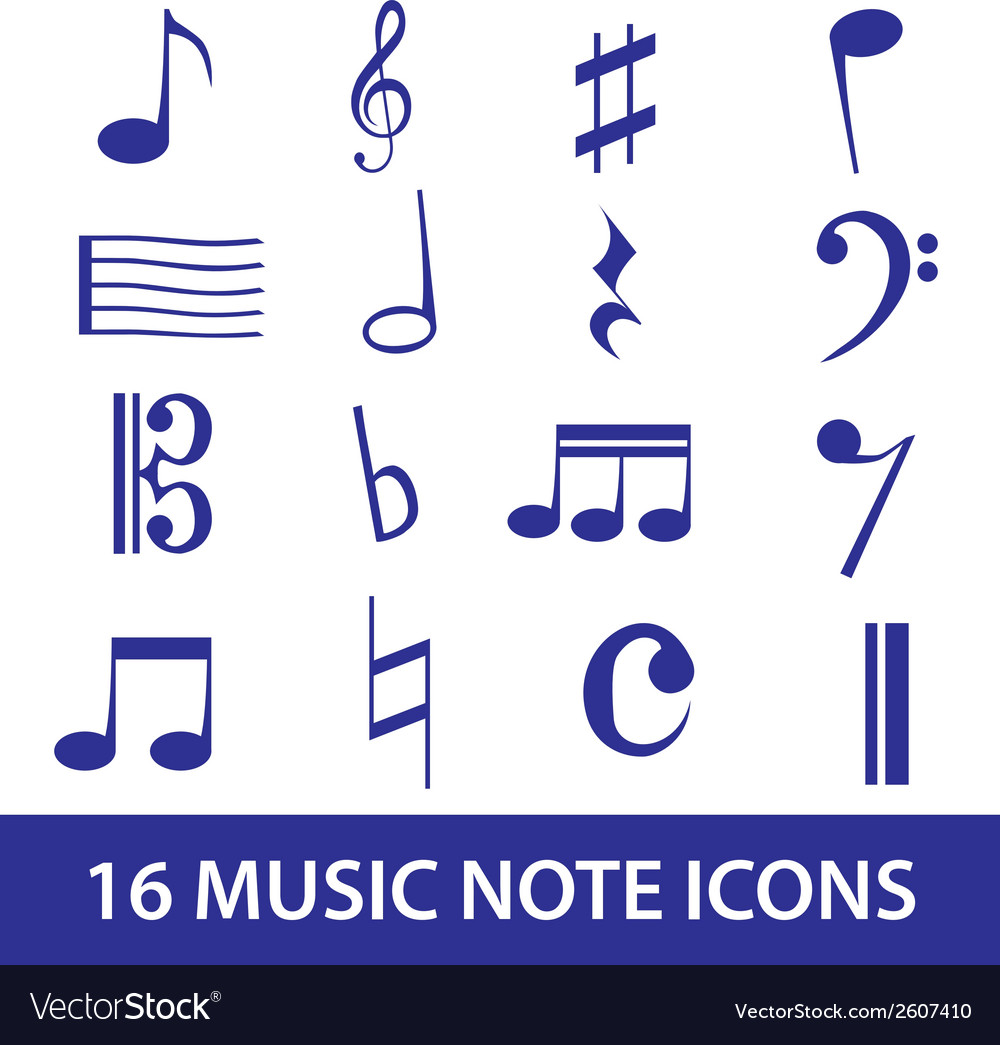 Music note icon set eps10 vector | Price: 1 Credit (USD $1)