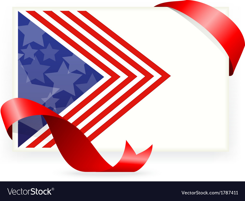 American flag for business cards with ribbon vector | Price: 1 Credit (USD $1)