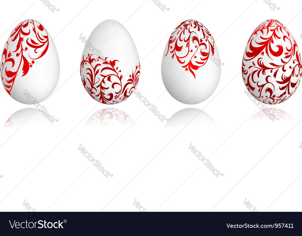 Easter eggs white with floral ornament vector | Price: 1 Credit (USD $1)