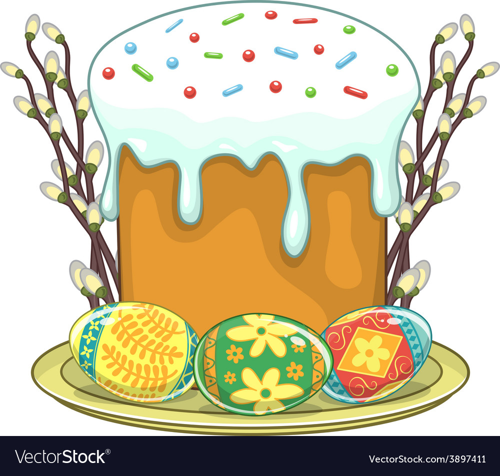 Easter traditional cake and eggs vector   Price: 1 Credit (USD $1)