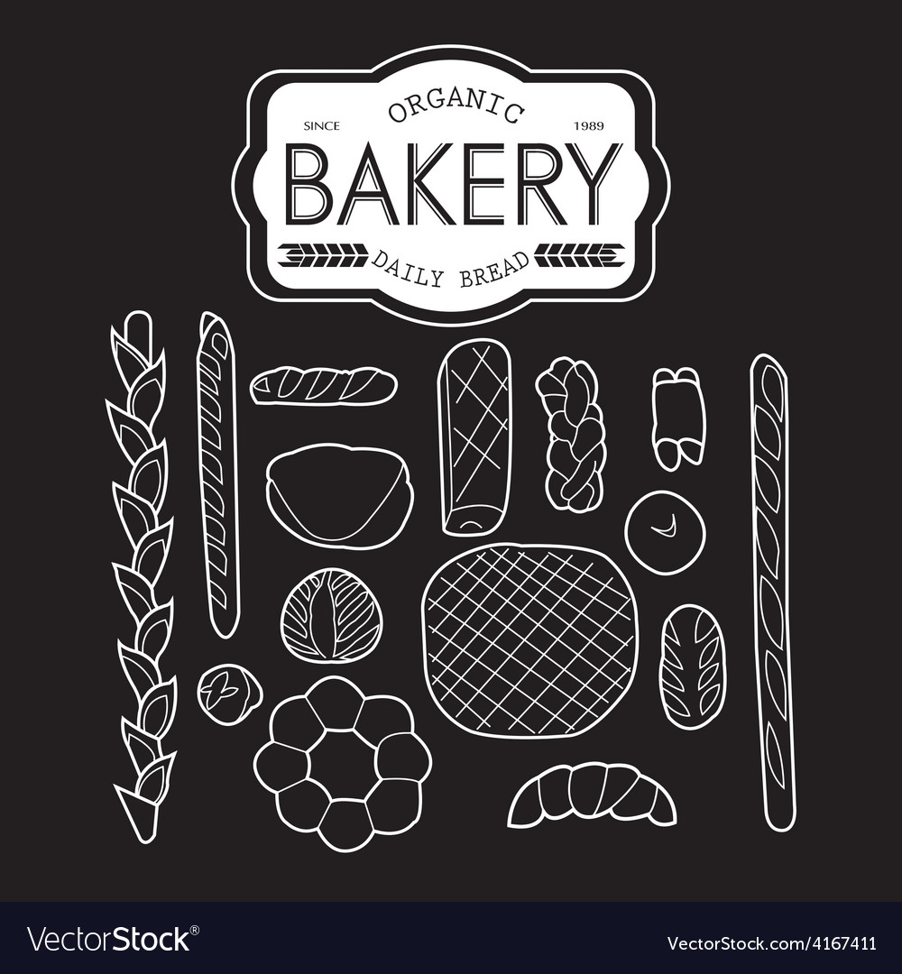 France bakery collection black and white vector | Price: 1 Credit (USD $1)