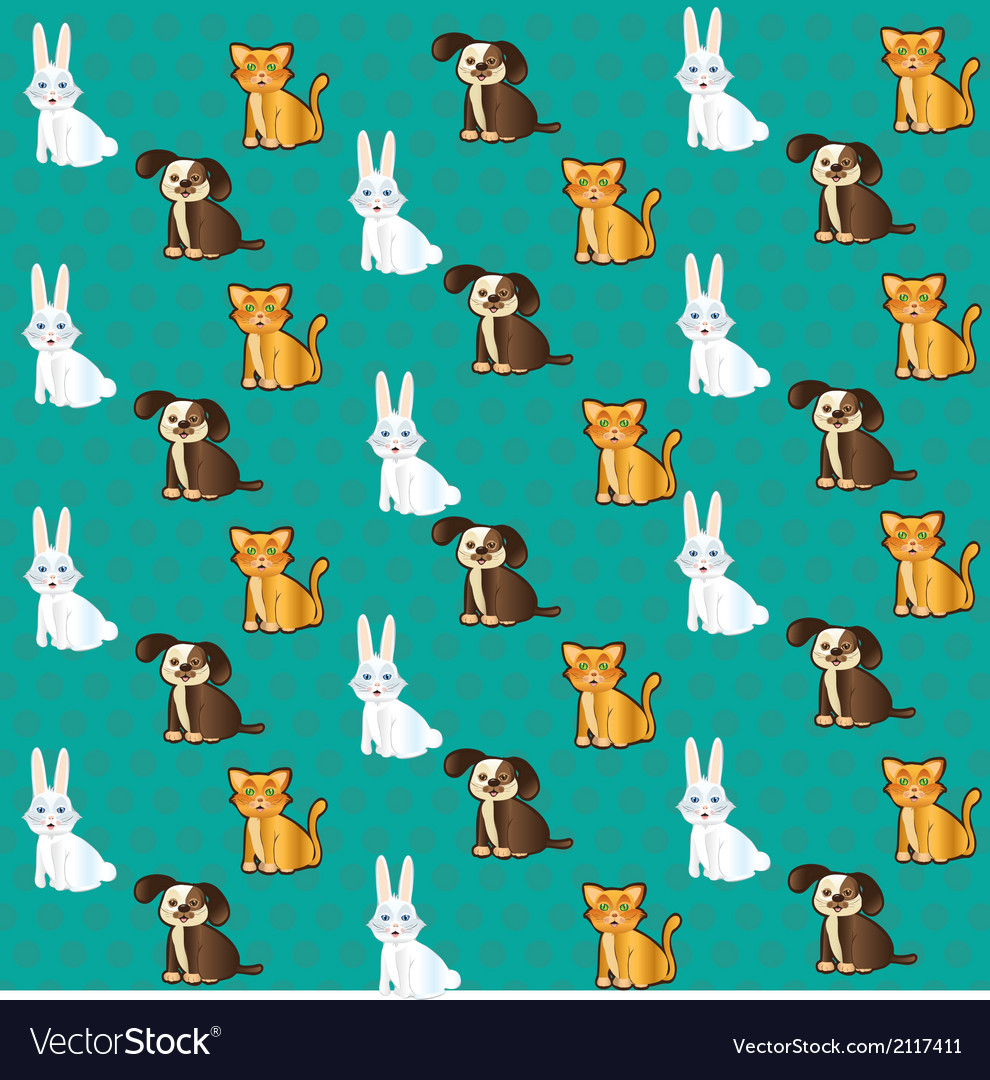 Pets pattern with cat bunny and dog labels vector | Price: 1 Credit (USD $1)