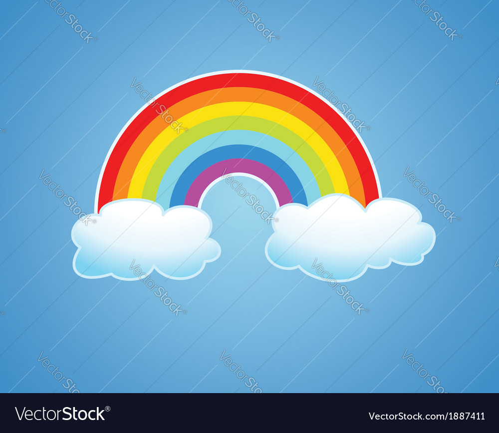 Rainbow and clouds vector | Price: 1 Credit (USD $1)