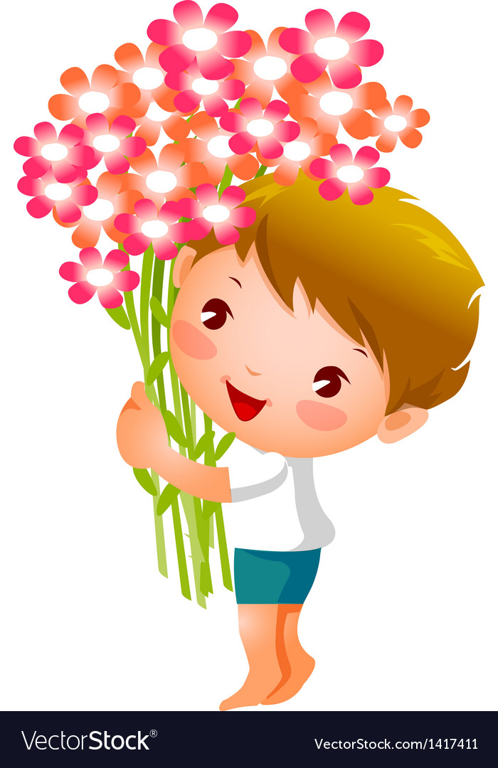 Side view of boy holding flowers vector | Price: 3 Credit (USD $3)