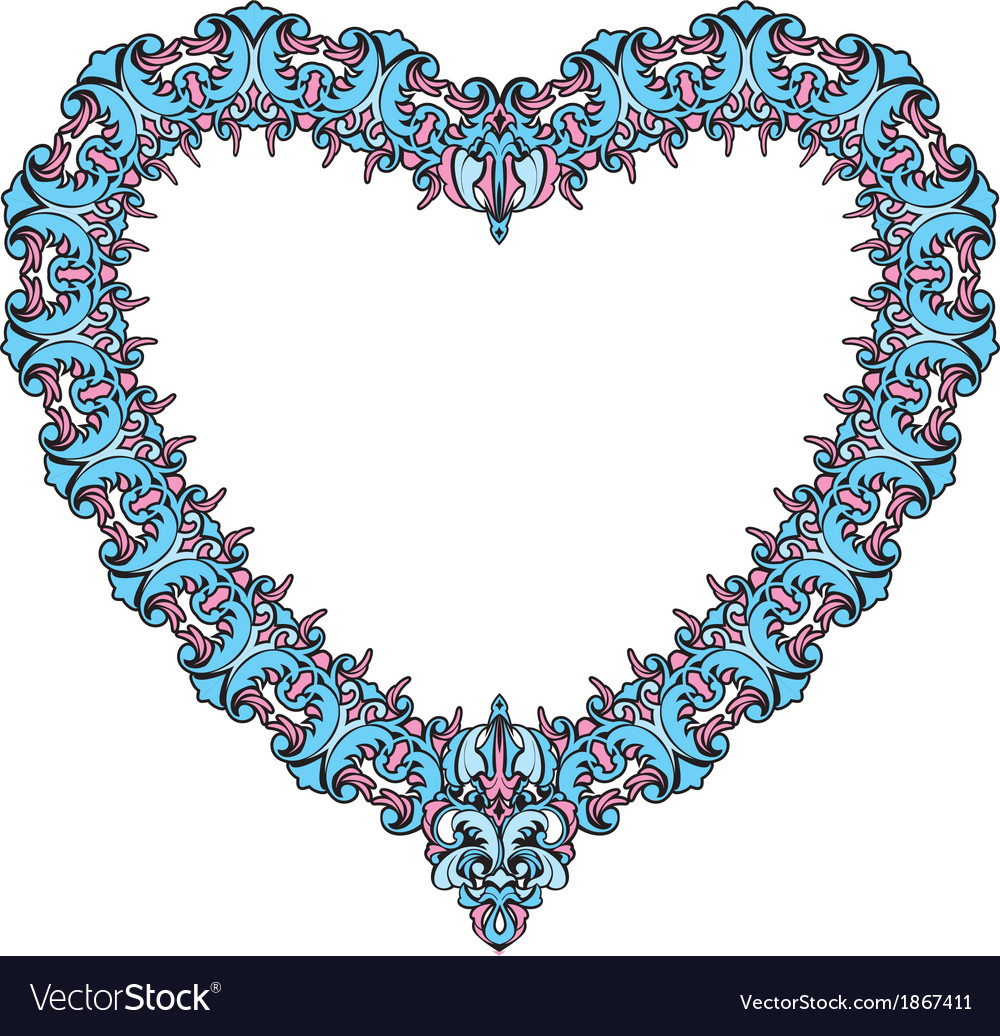 Vintage ornamental heart shape valentines day card vector | Price: 1 Credit (USD $1)