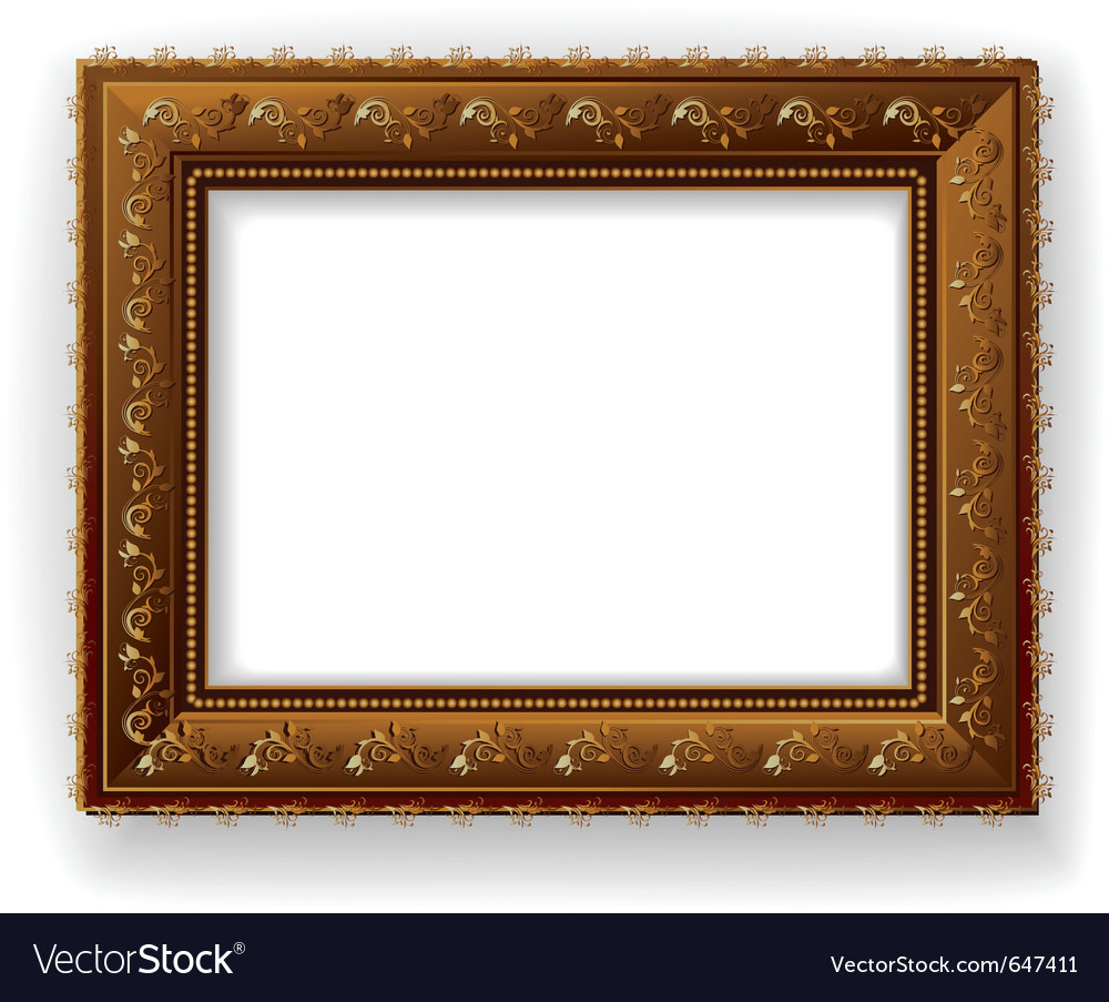Wooden vintage frame isolated vector | Price: 1 Credit (USD $1)