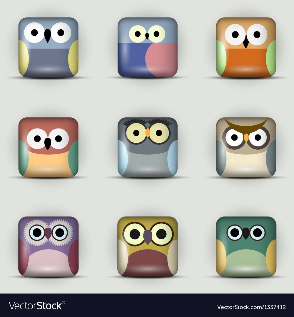 App icons set of owls vector | Price: 1 Credit (USD $1)