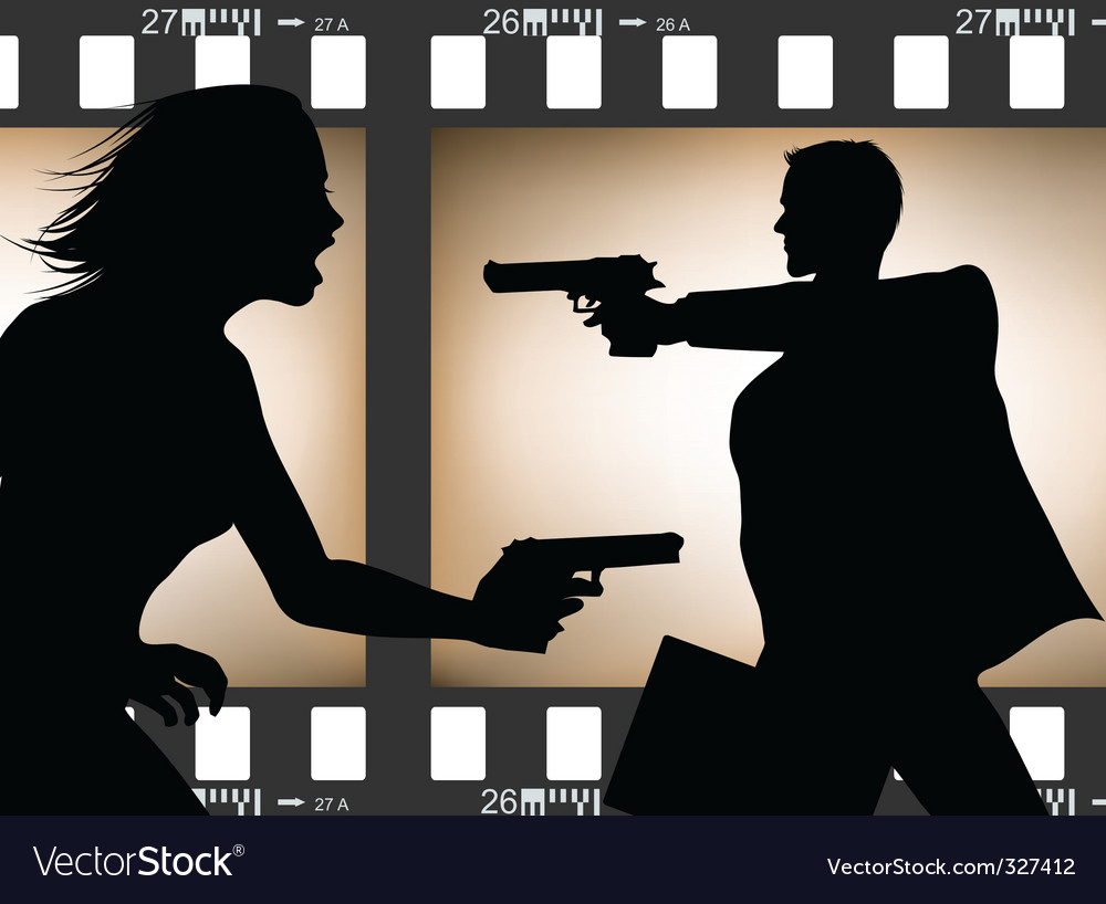 Film scene silhouette vector | Price: 1 Credit (USD $1)