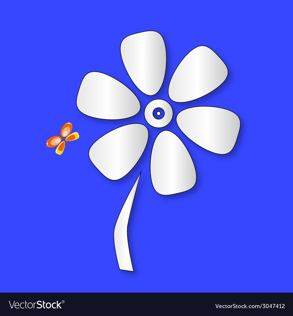 Flower and butterfly color vector | Price: 1 Credit (USD $1)