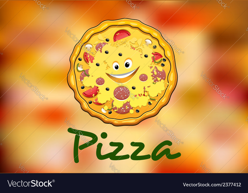 Full round cartoon pizza vector | Price: 1 Credit (USD $1)