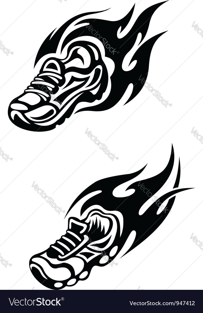 Trainers with tribal flames vector | Price: 1 Credit (USD $1)