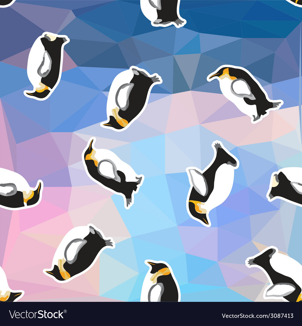 Abstract blue crystal ice background with penguin vector | Price: 1 Credit (USD $1)