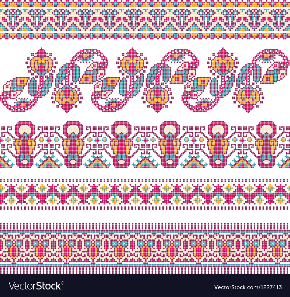 Cross-stitch ethnic ukraine pattern vector | Price: 1 Credit (USD $1)