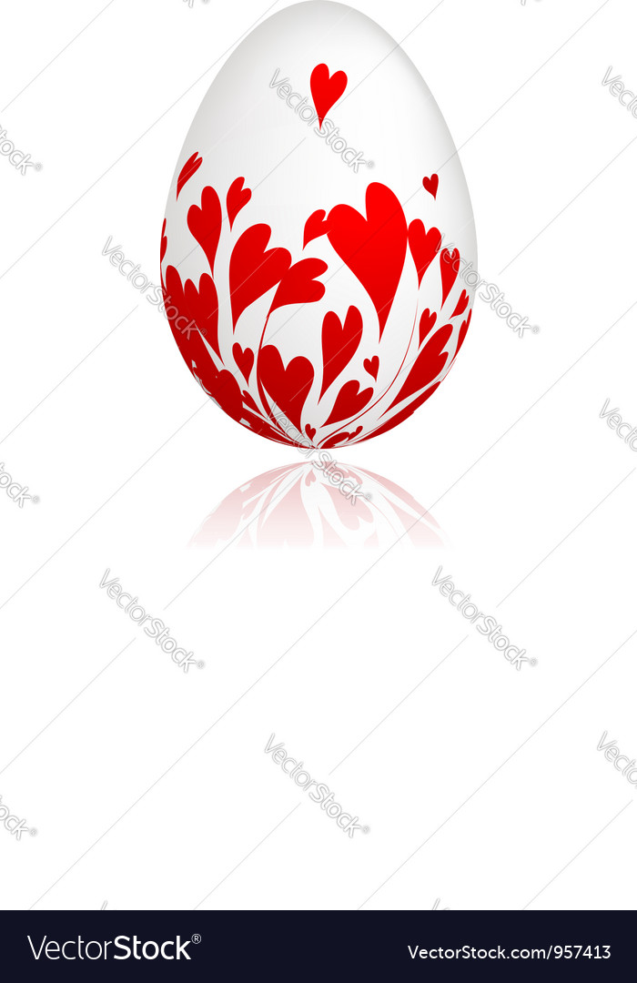 Easter egg with red hearts for your design vector | Price: 1 Credit (USD $1)