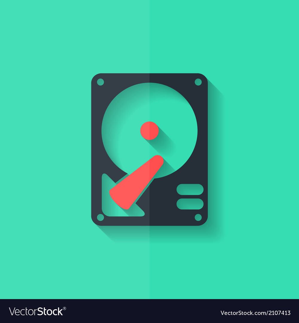 Hard disc icon flat design vector | Price: 1 Credit (USD $1)