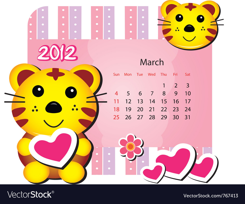 March tiger calendar vector | Price: 1 Credit (USD $1)