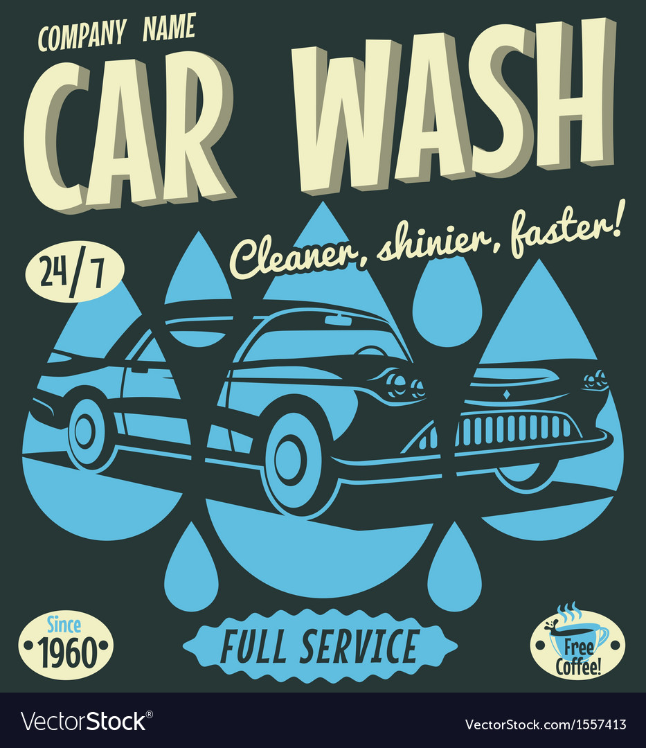 Retro car wash sign vector | Price: 3 Credit (USD $3)