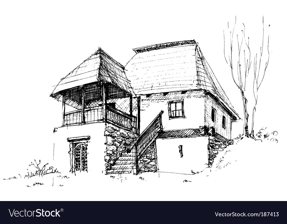 Rural house sketch vector | Price: 1 Credit (USD $1)