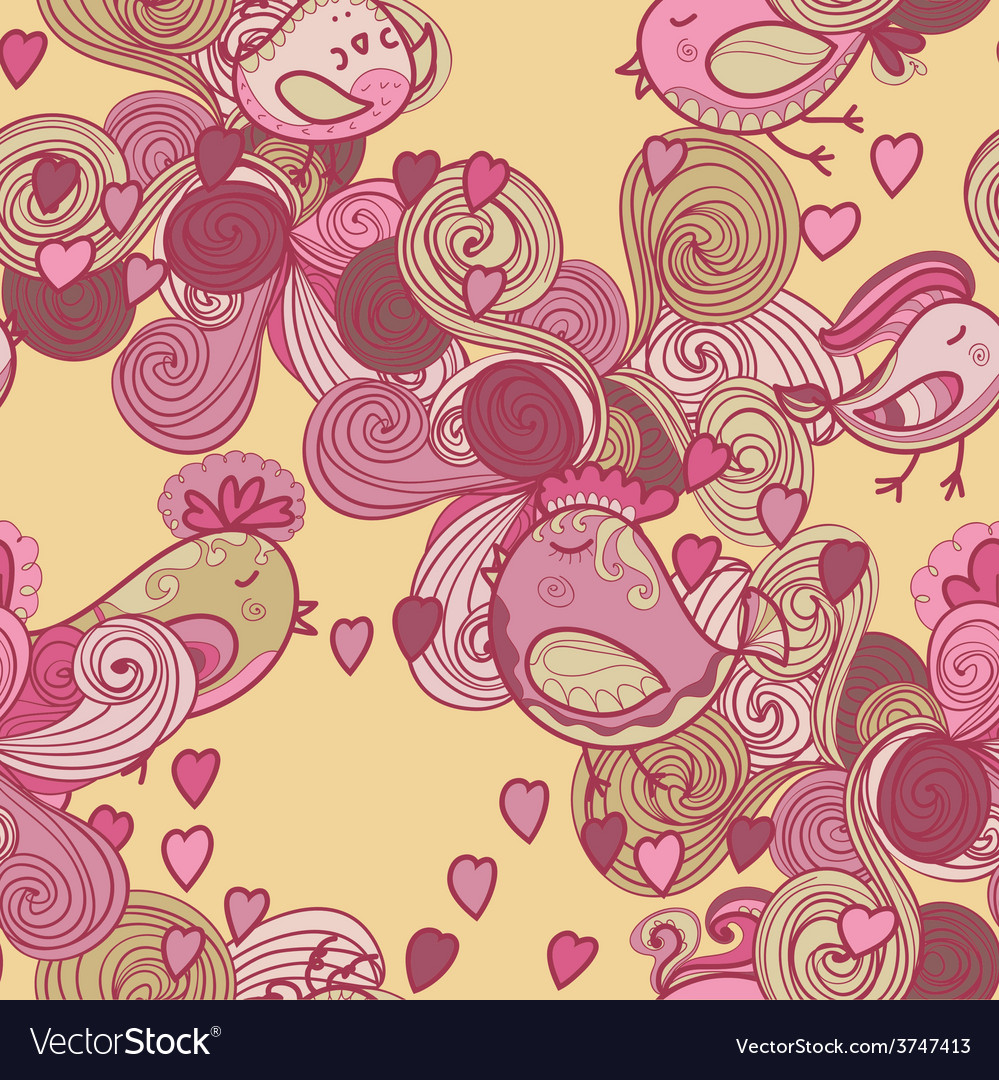 Valentine pattern with hearts birds waves vector | Price: 1 Credit (USD $1)