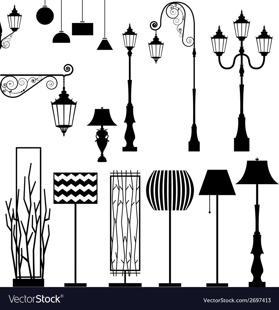 Vintage and modern lamp set vector | Price: 1 Credit (USD $1)