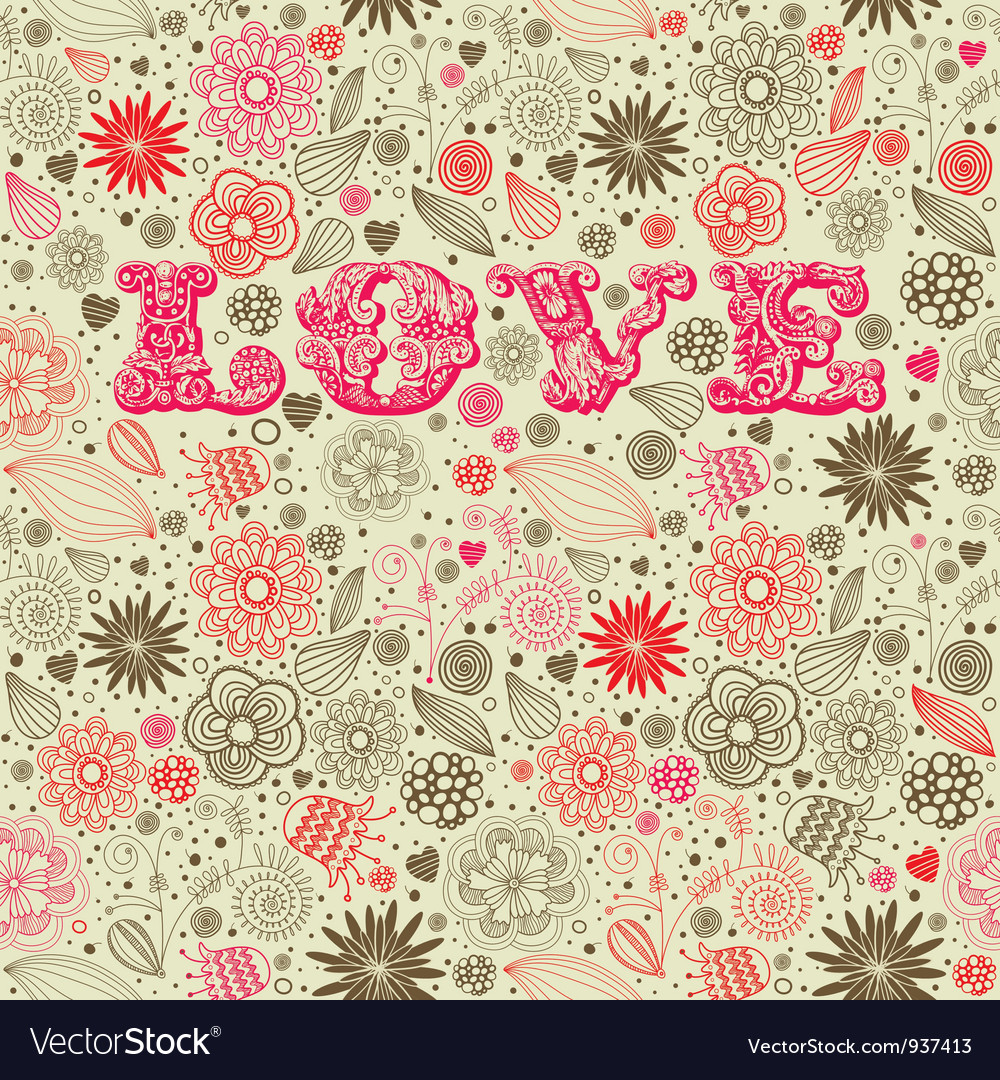 Vintage floral love background vector | Price: 1 Credit (USD $1)