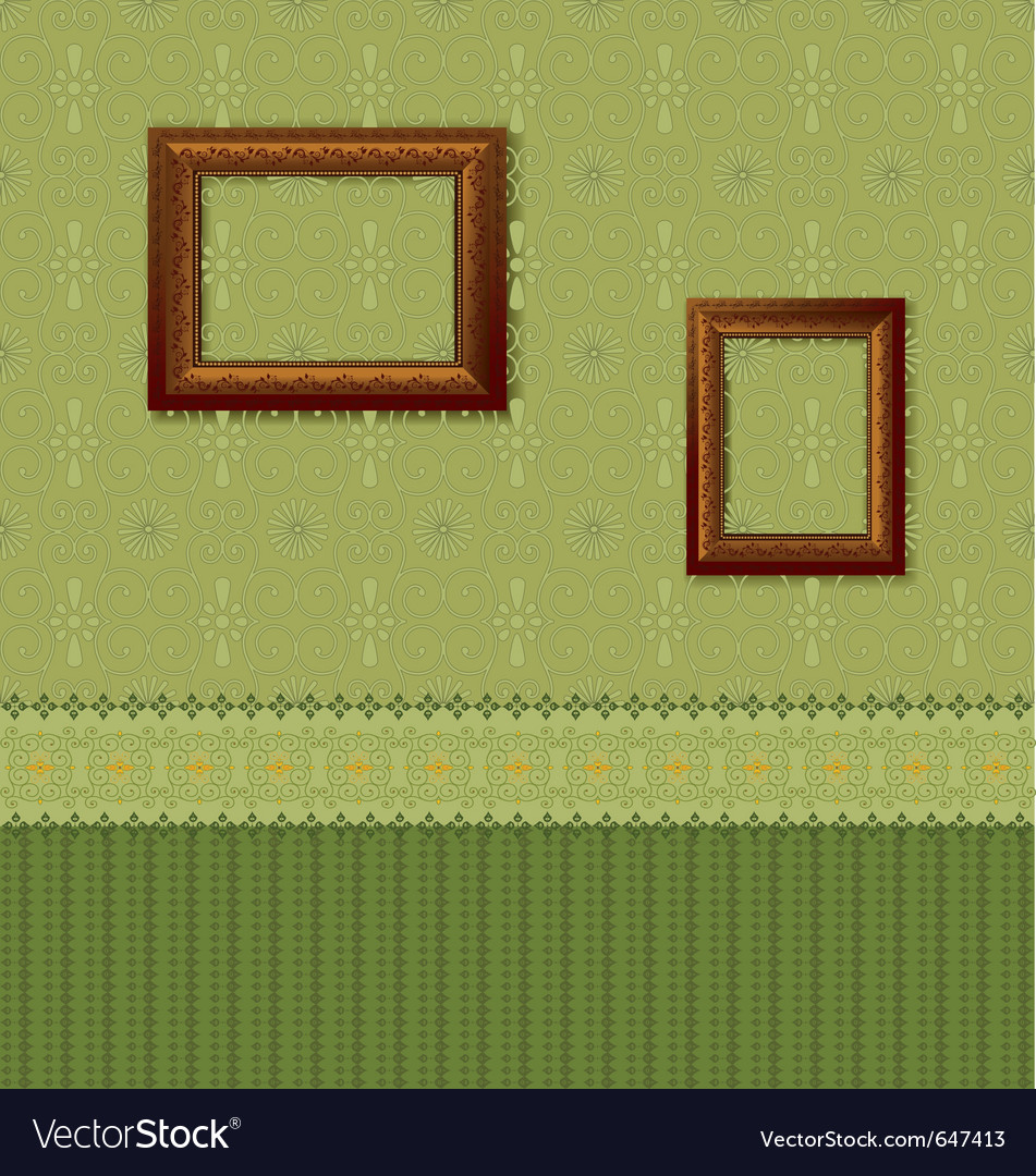 Wooden picture frame on the wall with wallpaper vector | Price: 1 Credit (USD $1)