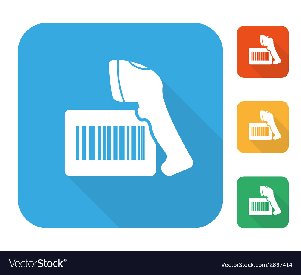 Barcode label with reader icon set vector | Price: 1 Credit (USD $1)