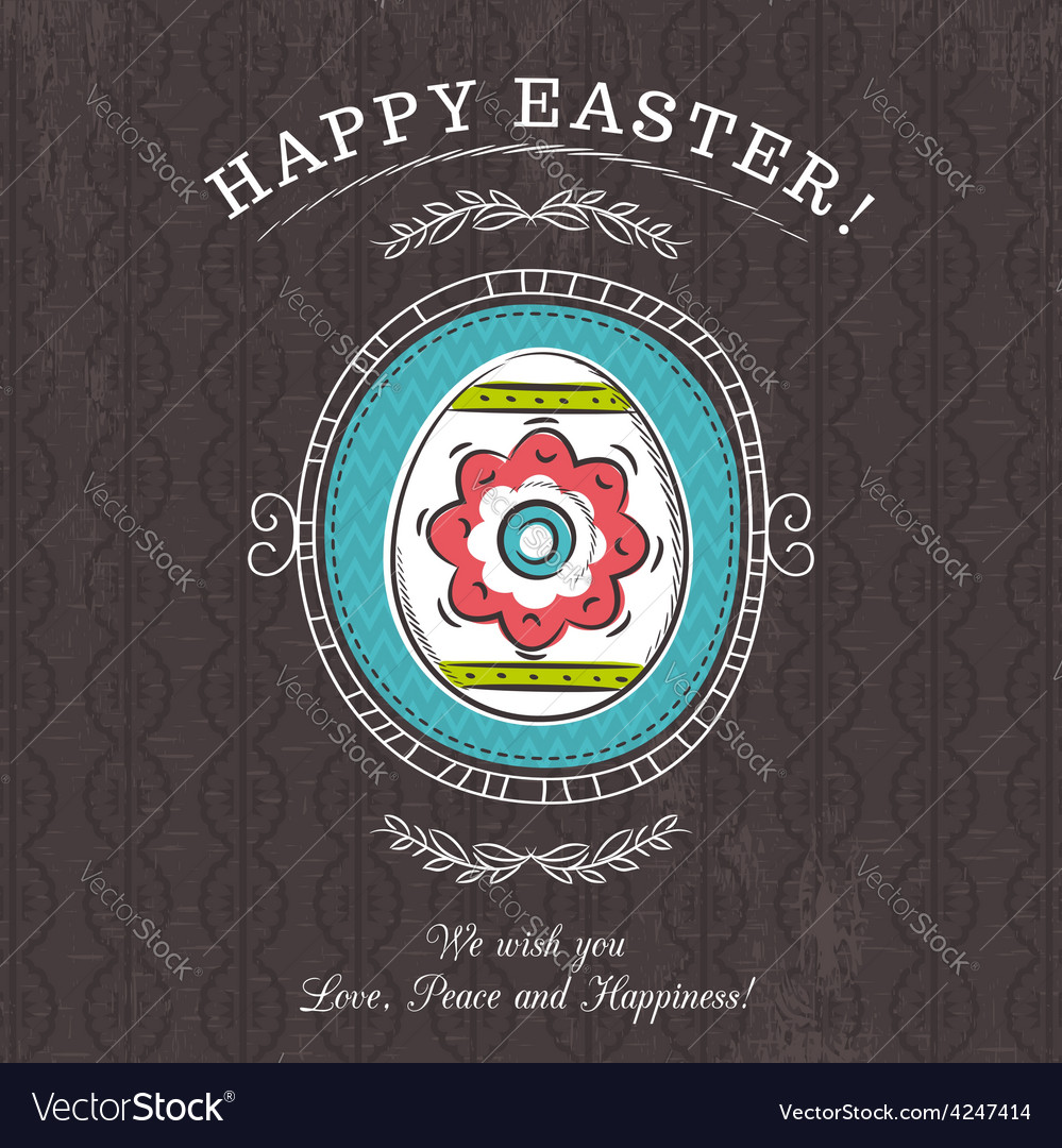Brown greetings card with easter egg vector | Price: 1 Credit (USD $1)