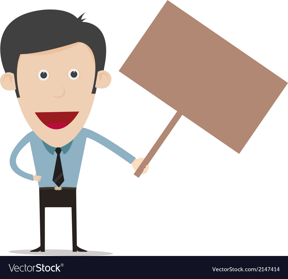 Cartoon hold sign board vector   Price: 1 Credit (USD $1)