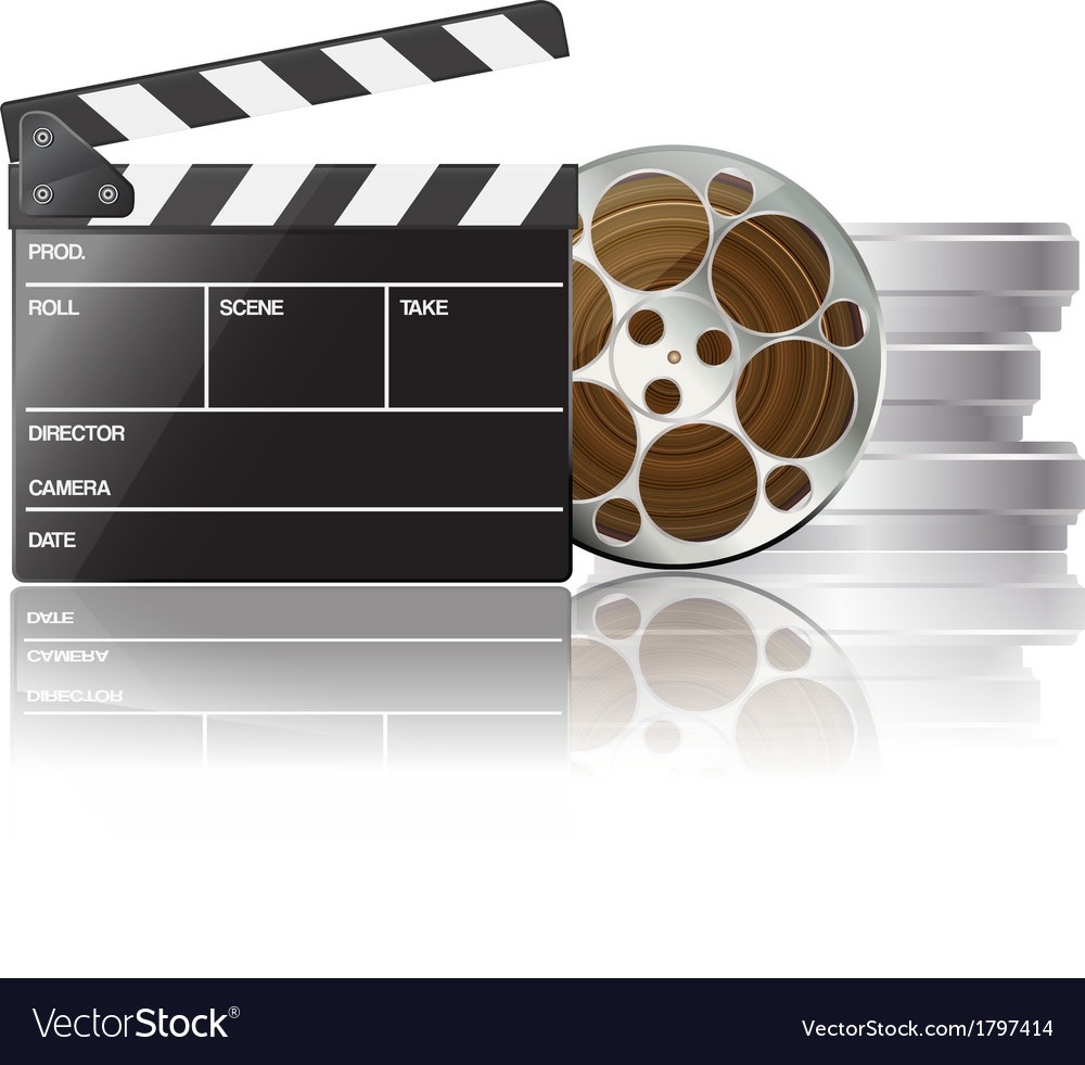 Clapboard and film reel 01 vector | Price: 1 Credit (USD $1)