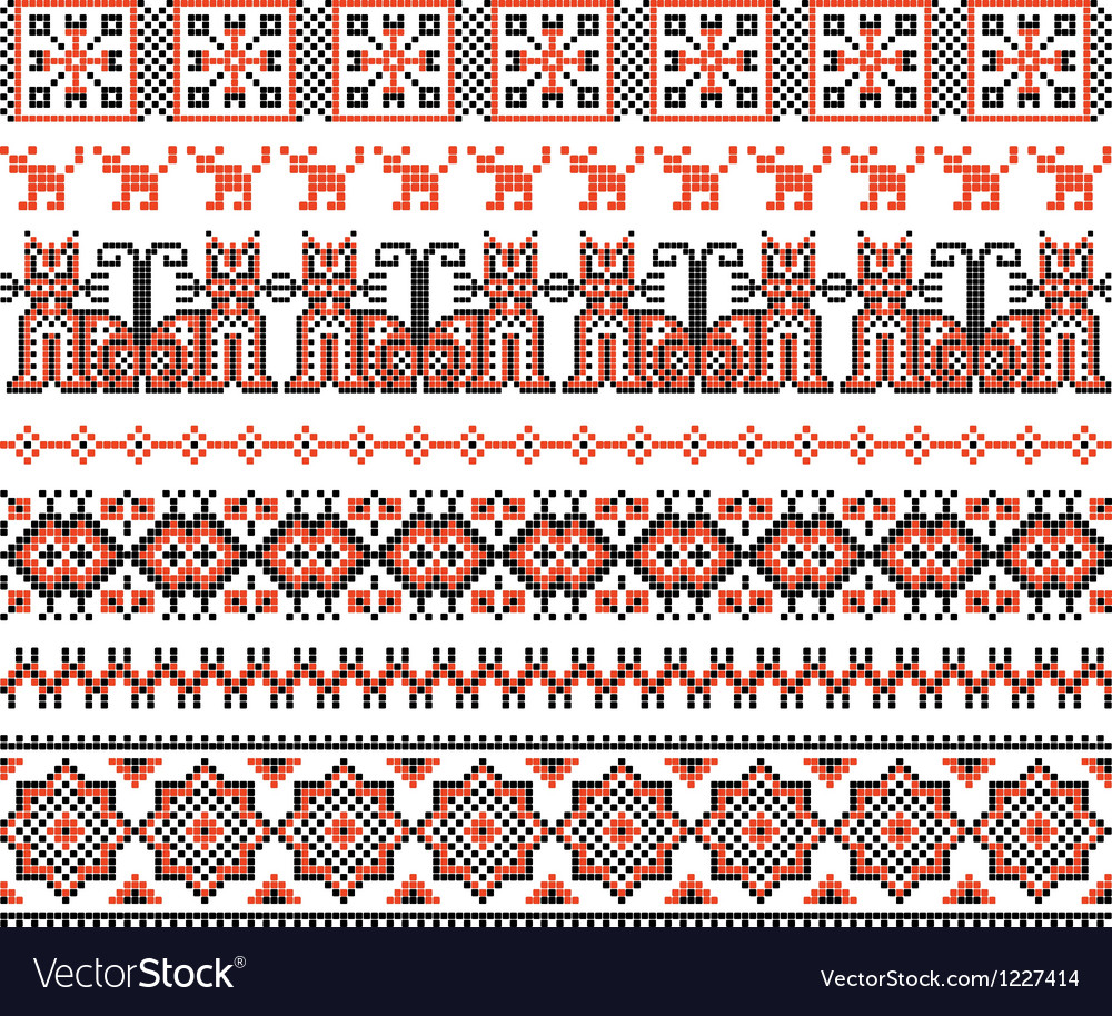 Cross stitch ethnic ukraine pattern vector | Price: 1 Credit (USD $1)